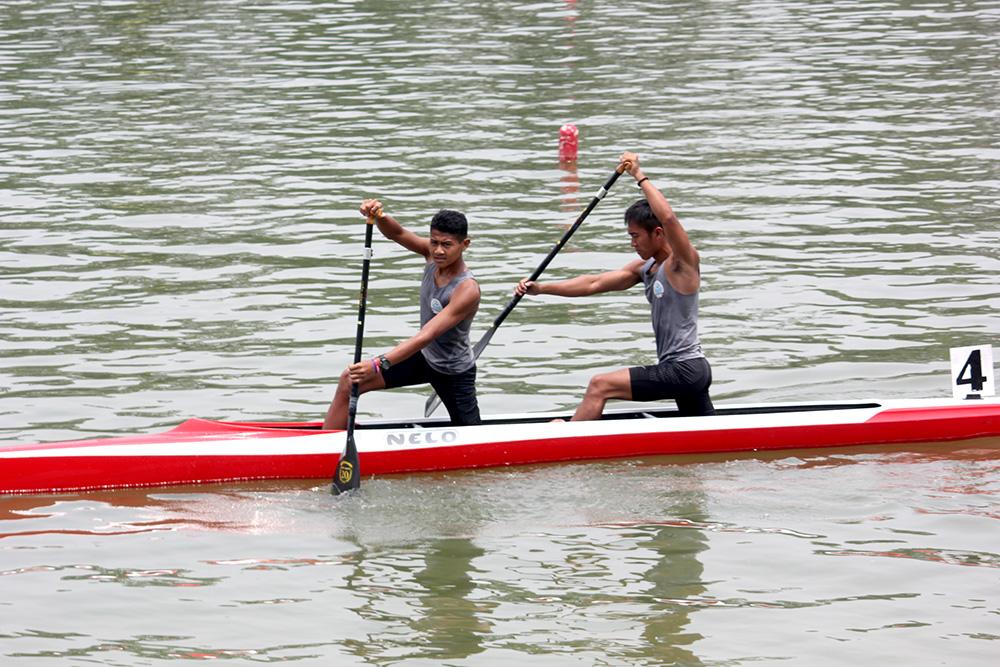 Rudiansyah (depan) Cap Rano (belakang) Atlet Kota Depok Usai menjalani pertandingan BK Porda Jabar