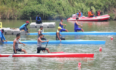 Lintasan 4 perahu merah Atlet Kota Depok saat menjalani laga final di BK Porda