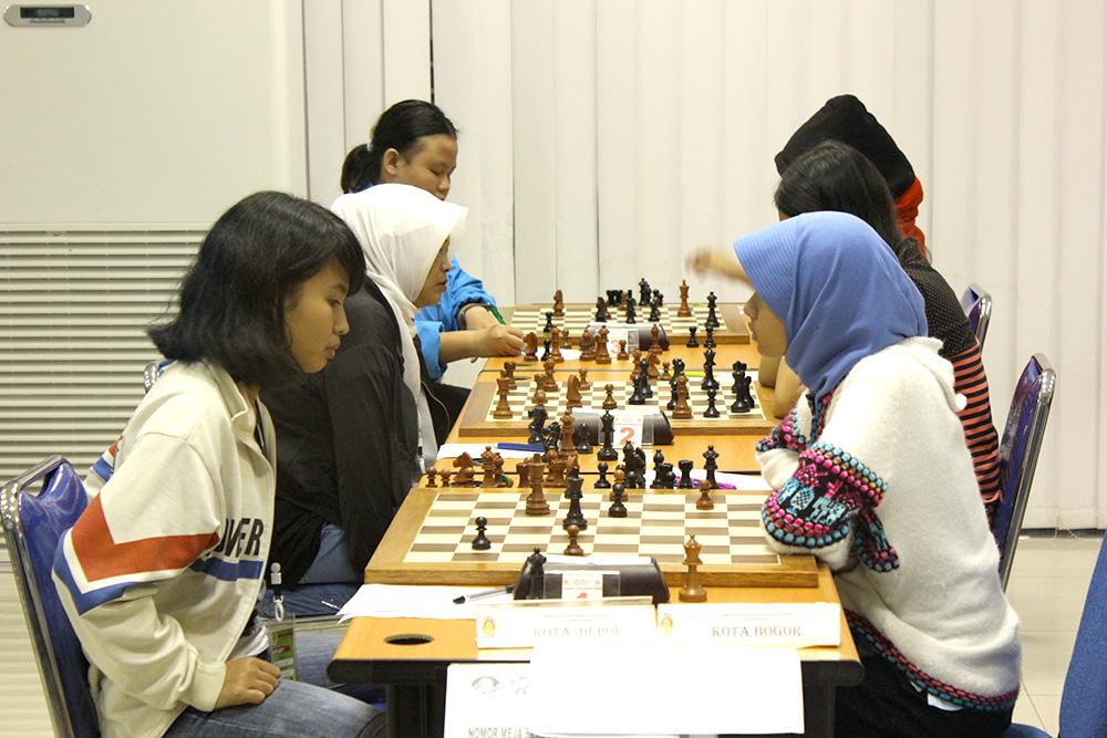 Tim Putri Carut Kota Depok saat pertandingan BK Porda Jabar