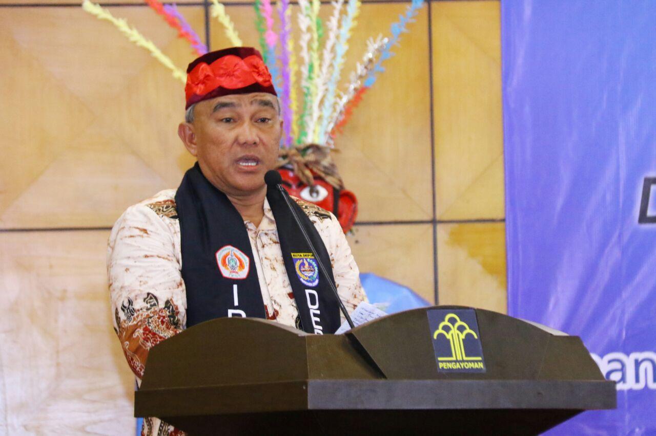 Walikota Depok KH Muhammad Idris memberikan sambutan di acara pelantikan pengurus IPSI Kota Depok