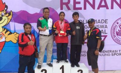 Fatima Azzahra saat meraih medali emas di gelaran o2sn Medan