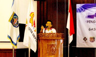 Ketua KONI Kota Depok Drs.Amri Yusra,M.Si saat memberikan sambutan diacara pelantikan Perkemi periode 2017-2021