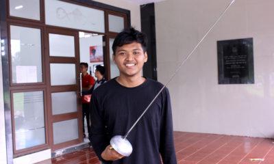 Robby Atlet Anggar Kota Depok usai menjalani laga di babak Kualifikasi Porda Jawa Barat