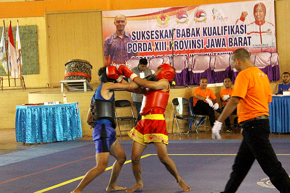 Nomor pertandingan Sanda saat laga di babak kualifikasi Porda Jawa barat