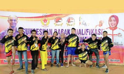 Tim BK Porda Wushu Kota Depok Foto bersama usai menjalani laga di babak kualifikasi Porda XIII 2017