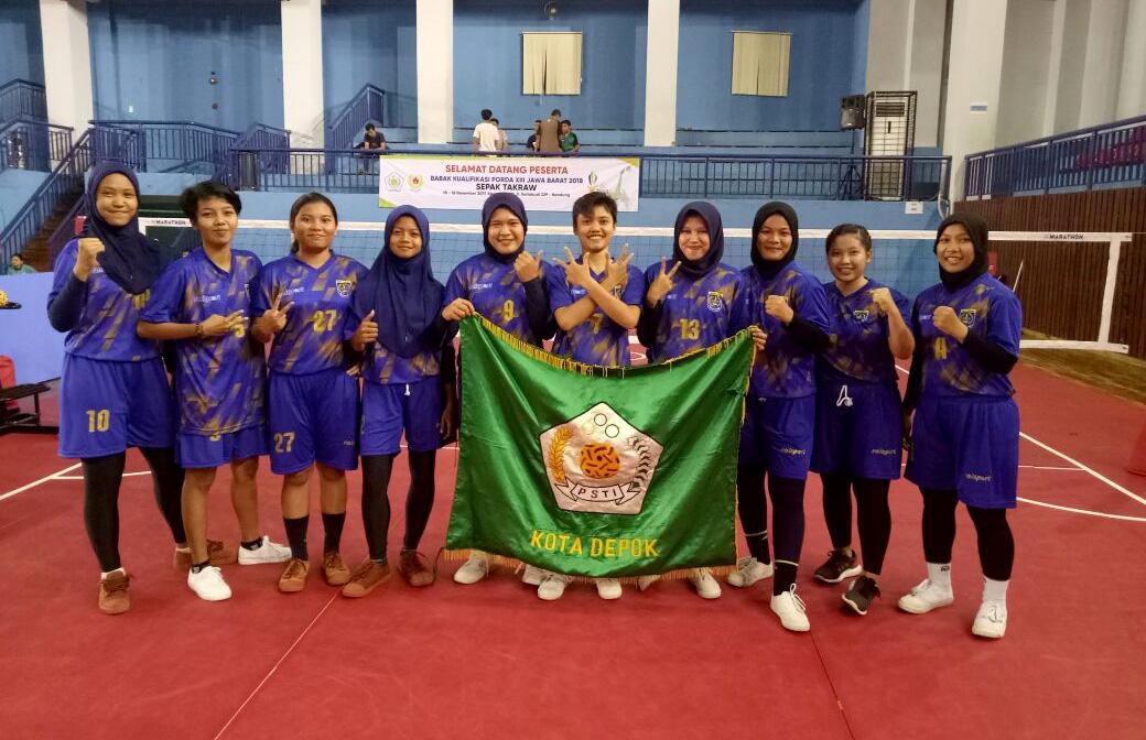 Tim Sepak Takraw putri kota Depok yang ikut ajang Babak Kualifikasi Porda Jabar