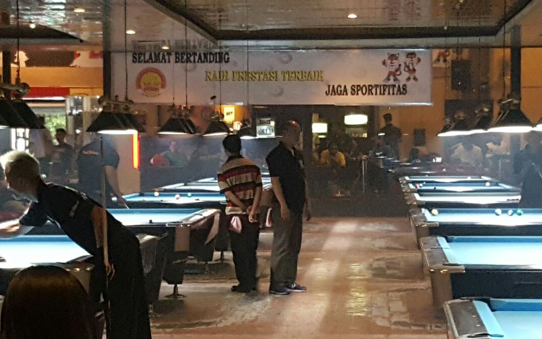Lokasi pertandingan babak kualifikasi Porda 2017 di Spot Biliar Kota Cirebon Jawa barat