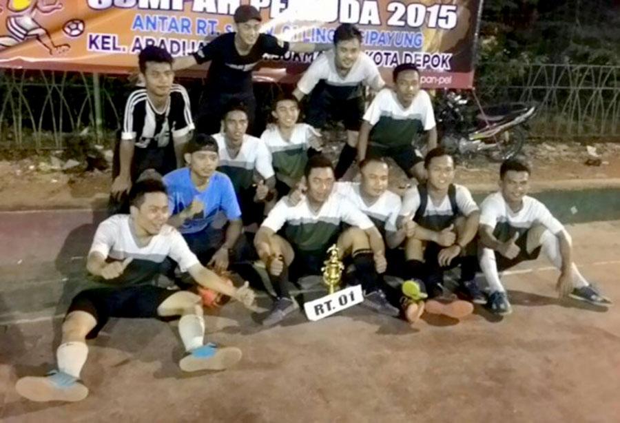 Para Juara yang bergembira usai pertandingan futsal dilaksanakan