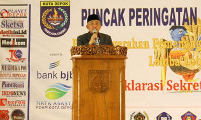 Walikota Depok Mohammad Idris memberikan sambutan di hari pers nasional tingkat kota Depok yang diadakan hari selasa di gedung balai rakyat Depok 2