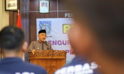 Walikota Depok saat memberikan sambutan di acara pelantikan perbasi periode 2018-2022