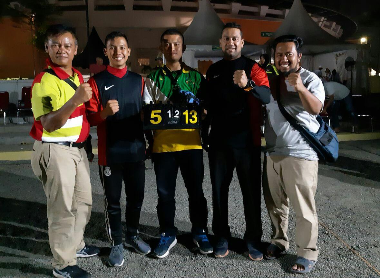 Atlet petanque bersama pengurus koni dan cabang olahraga di lokasi pertandingan porda jabar 2018
