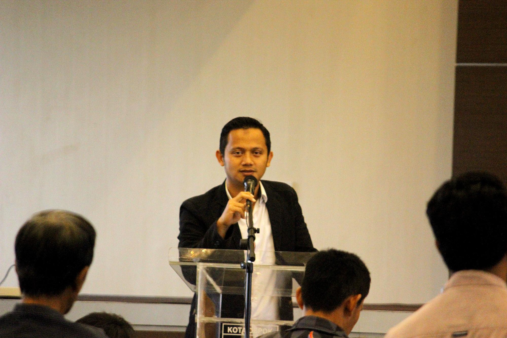 sambutan Arif Kurniawan calon tunggal ketua asosiasi futsal kota Depok  di acara Kongres sabtu (19/01/19)