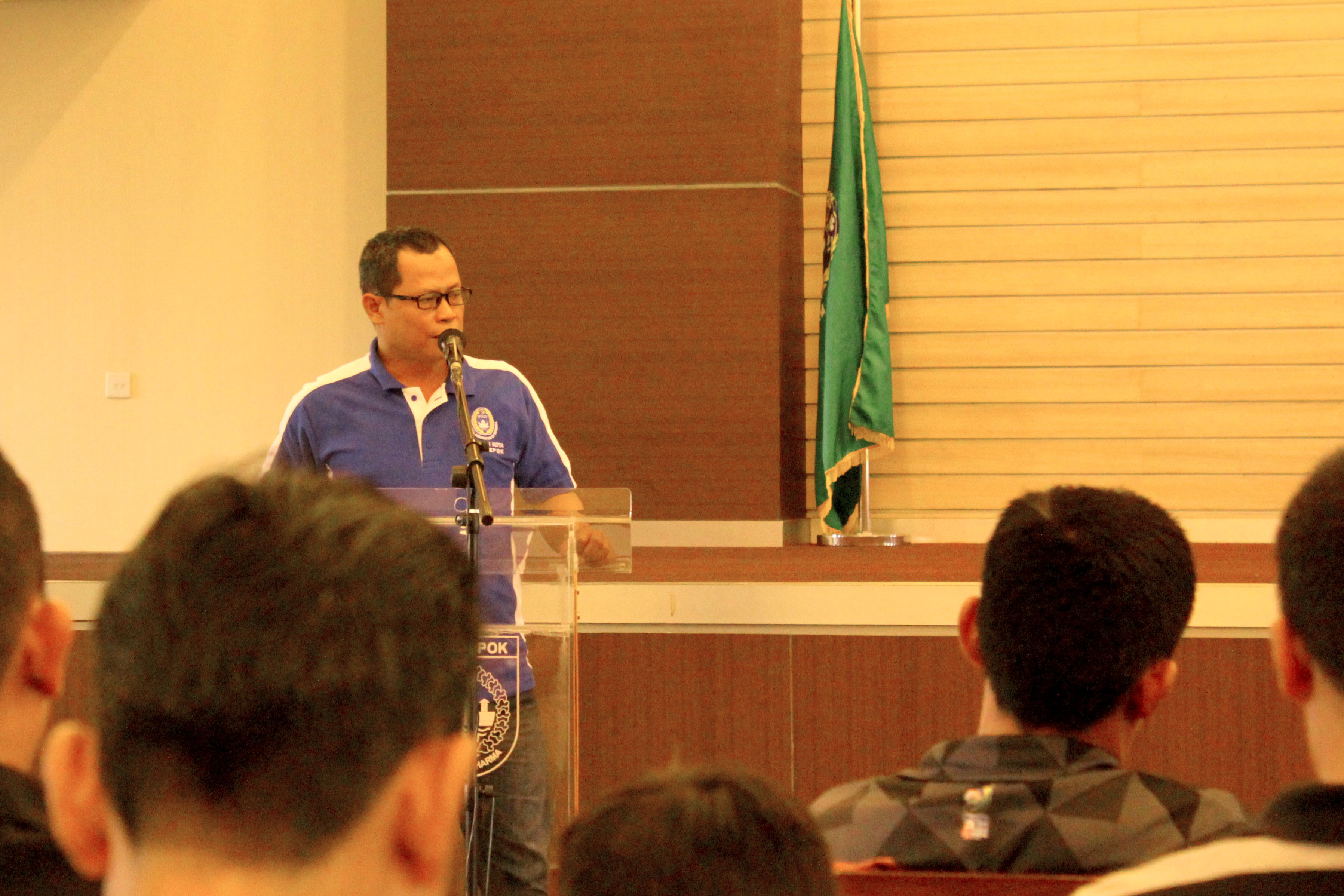 Meiyadi ketua askot PSSI Kota Depok menyempatkan hadir untuk memberikan sambutan diacara kongres Asosiasi Futsal kota Depok, di gedung Debaleka LT.10 (19/01/19).