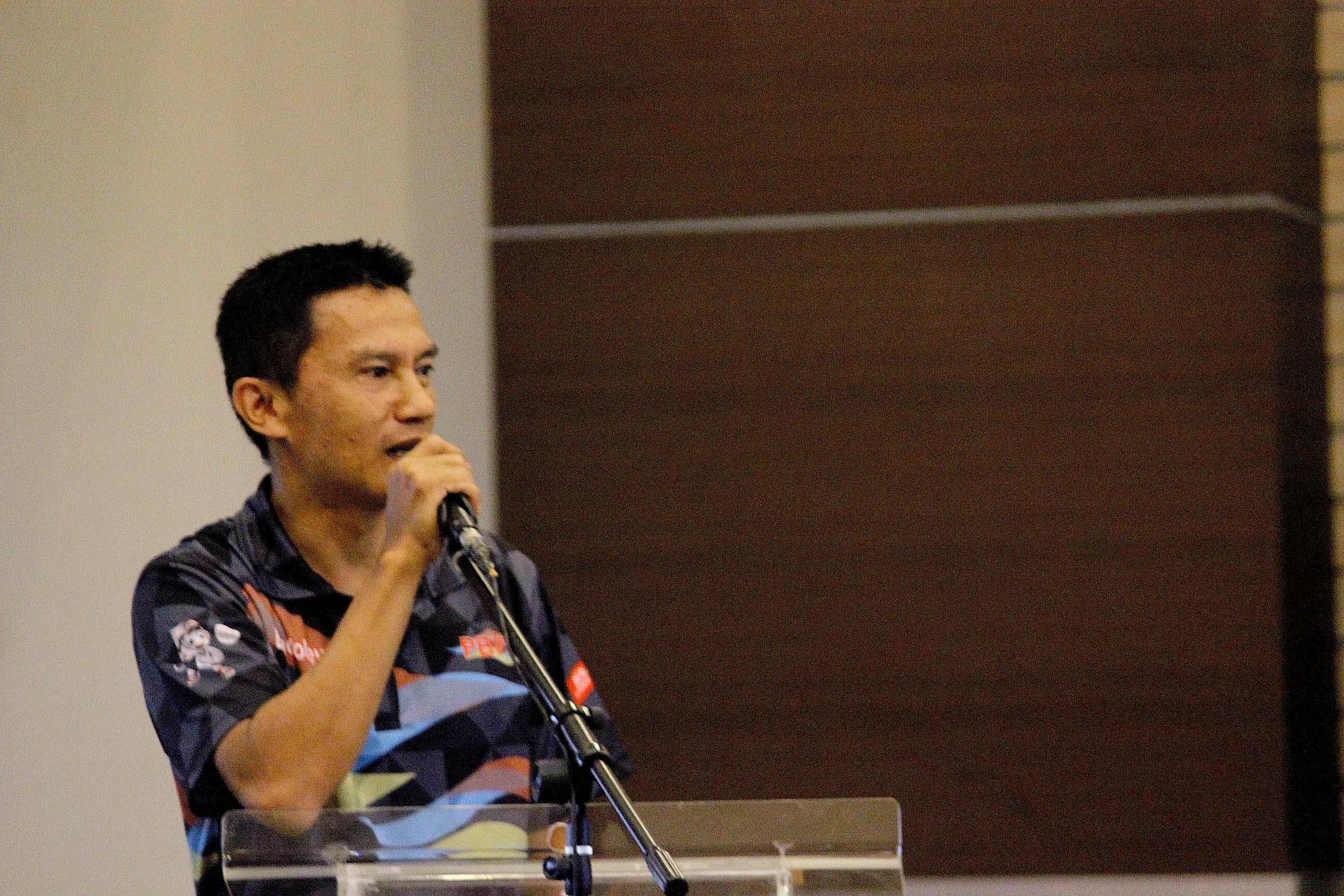 Nur Abdulah selaku perwakilan pemberintah memberikan kata sambutan di acara Kongres Asosiasi futsal kota Depok di gedung Debaleka LT.10 (19/01/19)