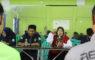 Nina Suzana, S.Sos. M.Si. Ketua Umum Federasi Arum Jeram Kota Depok saat memberikan sambutan di acara rekrutmen anggota baru FAJI di aula KONI Kota Depok, Sabtu (09/02/19).