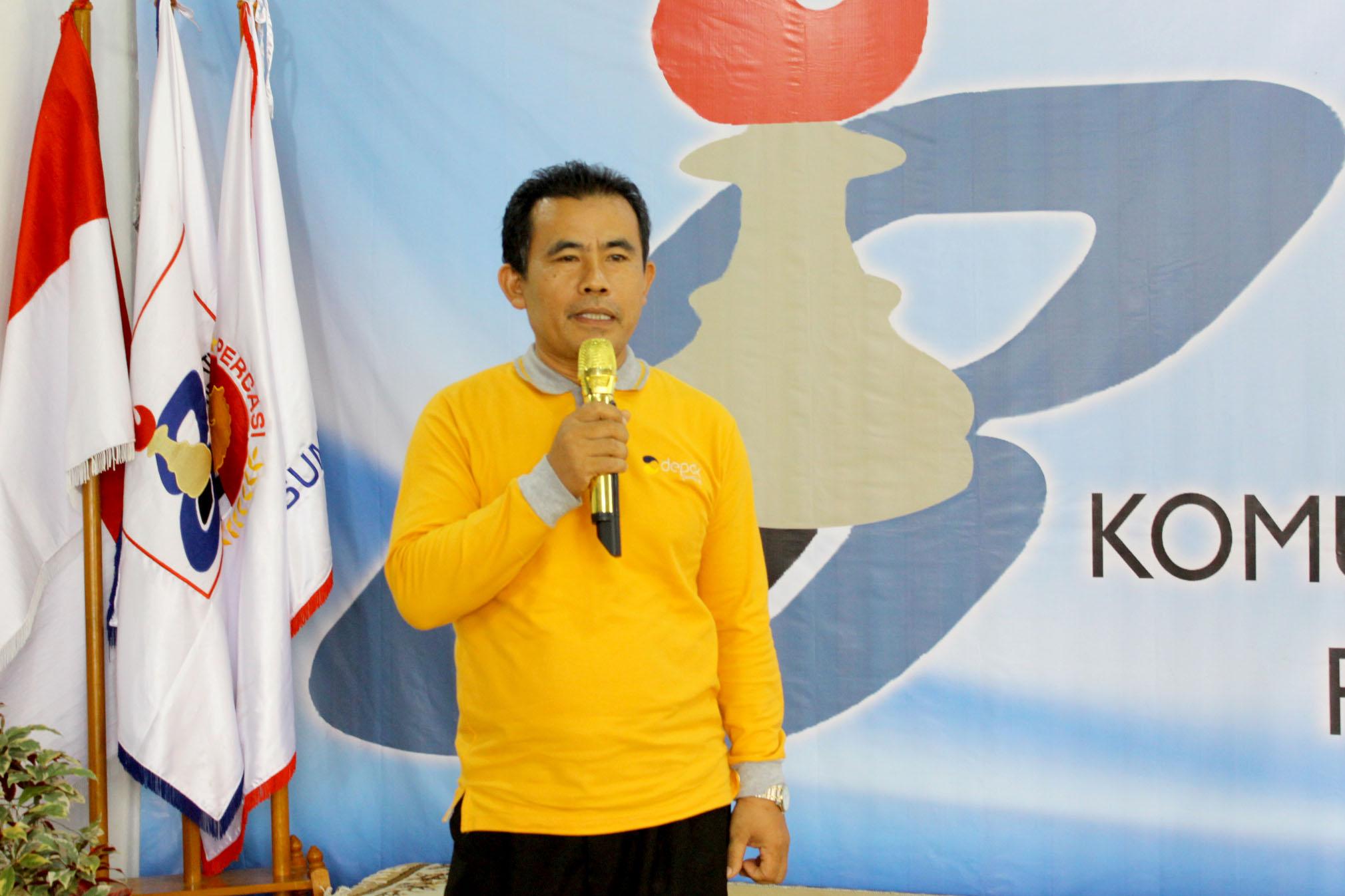 Camat Cilodong H.Mulyadi SH.,MA. saat memberikan sambutan diacara pembukaan open turnamen catur Pion 8, Cilodong Kota Depok Jawa barat, (02/03/19).