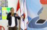 Samsul Khoir Azhar Ketua Komunitas Kampus Pion 8 saat memberikan sambutan diacara pembukaan open turnamen catur Pion 8, Cilodong Kota Depok Jawa barat, (02/02/19).